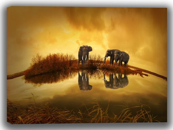 Elephants Under a Yellow Sky. Wildlife Canvas. Sizes: A4/A3/A2/A1 (3992)
